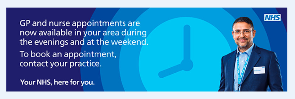 NHS Appointments. GP and nurse appointments are now available in your area during evenings and the weekend. To book an appointment, contact your practice.
